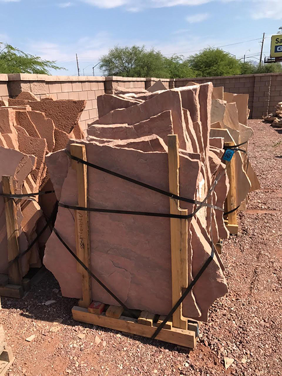Select flagstone Tucson AZ color rosa, Arizona flagstone supply in Rosa color.